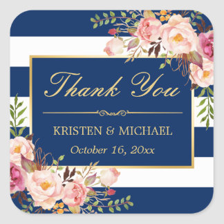 Navy Blue Stripes Gold Pink Floral Thank You Square Sticker