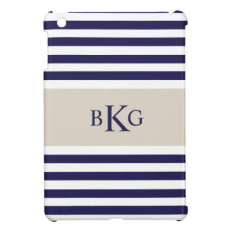 Navy Blue Stripes Monogram iPad Mini Covers