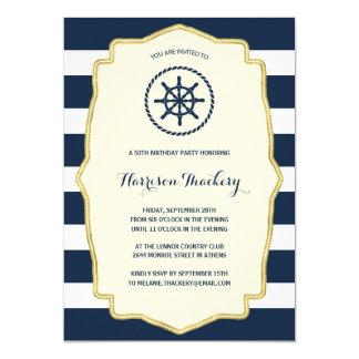 Navy Blue Stripes   Nautical Birthday Party 13 Cm X 18 Cm Invitation Card