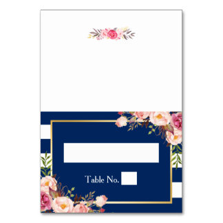 Navy Blue Stripes Pink Floral DIY Wedding Place Card