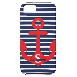 Navy Blue Stripes Red Anchor Monogram Name Tough iPhone 5 Case