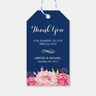 Navy Blue Stripes Romantic Floral Thank You