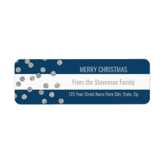 Navy Blue Stripes Silver Confetti Merry Christmas Return Address Label