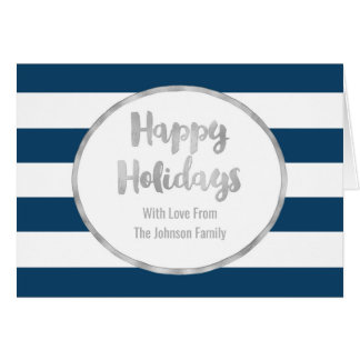 Navy Blue Stripes Silver Happy Holidays Card
