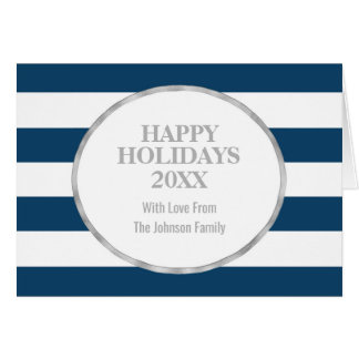 Navy Blue Stripes Silver Happy Holidays Custom Card