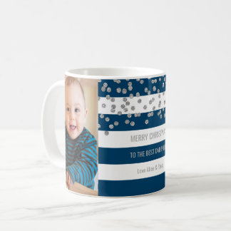 Navy Blue Stripes Silver Photo Best Dad Christmas Coffee Mug