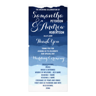 Navy blue stripes watercolor ombre wedding program rack card