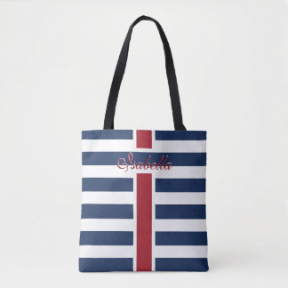 Navy Blue Stripes with your Name Favour Tote Bag