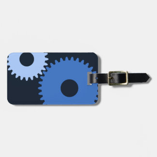 Navy Blue stylish machine cogs Luggage Tag