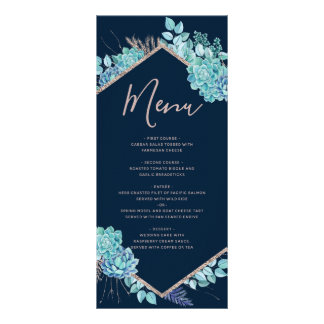 Navy Blue Succulents & Rose Gold Wedding Menu