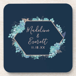Navy Blue Succulents & Rose Gold Wedding Monogram Coaster