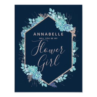 Navy Blue Succulents Will You Be My Flower Girl Card