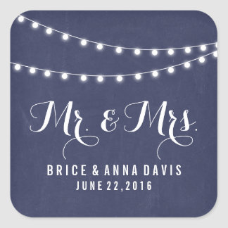 Navy Blue Summer String Light Wedding Stickers