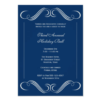 Navy blue symphony flourish corporate event party 13 cm x 18 cm invitation card