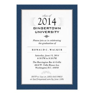 Navy Blue & Tan Formal Graduation Party Invite