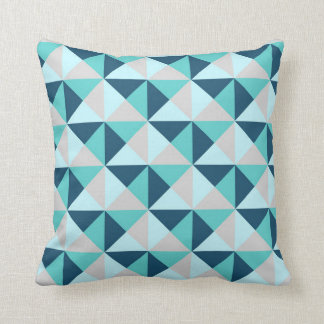 Navy Blue Teal Grey Geometric Triangles Pillow Throw Cushion
