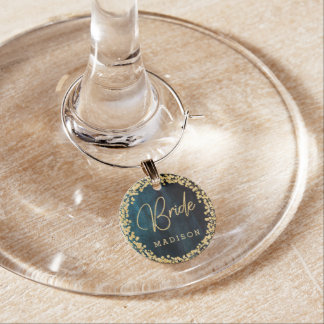Navy Blue & Teal Watercolor & Gold Wedding Bride Wine Charm