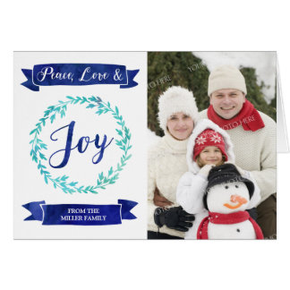 Navy Blue Teal Watercolor Wreath Christmas Photo Card