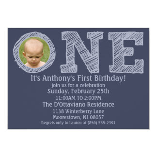 Navy Blue The Big One First Birthday Party 13 Cm X 18 Cm Invitation Card