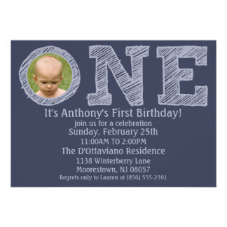 Navy Blue The Big One First Birthday Party Invitations