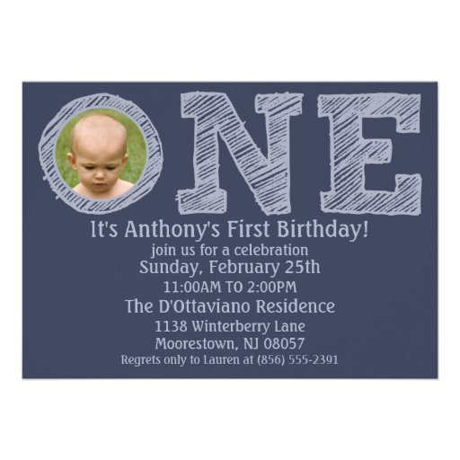 Navy Blue The Big One First Birthday Party Custom Invite
