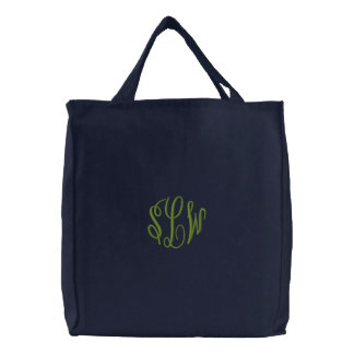 Navy Blue Tote Bag with Embroidered Monogram