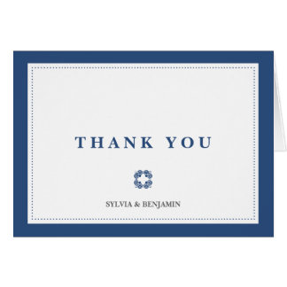 Navy blue traditional border simply thank you note note card