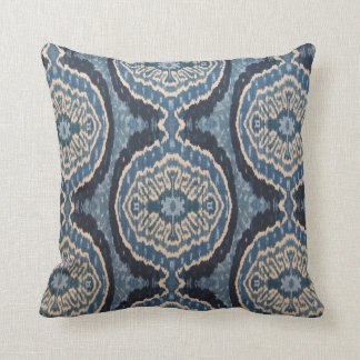 Navy Blue Tribal Ikat Cushion