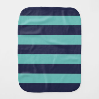 Navy Blue Turquoise Rugby Stripes Baby Burp Cloth