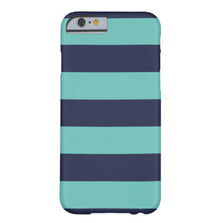 Navy Blue Turquoise Stripes Barely There iPhone 6 Case