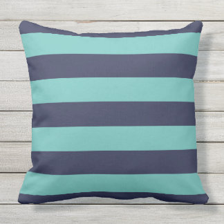 Navy Blue Turquoise Stripes Outdoor Cushion