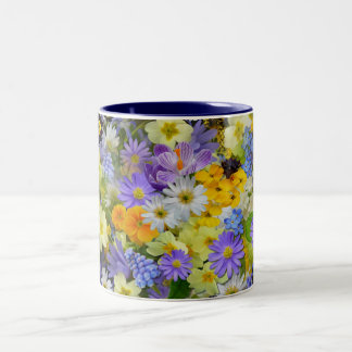 Navy Blue Two-Tone Colorful Floral Mug