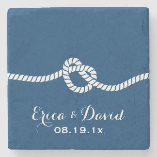 Navy Blue Tying the Knot Nautical Wedding Stone Beverage Coaster