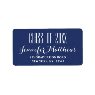 Navy Blue Typography Graduation Address Label