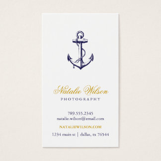 Navy Blue Vintage Anchor Vertical Business Card