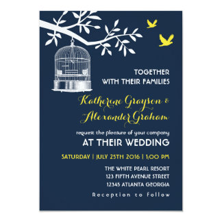 Navy Blue Vintage Bird Cage Wedding Invitation