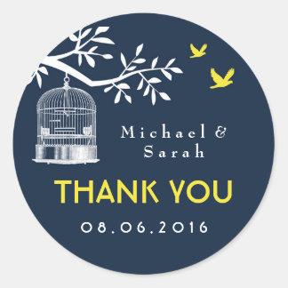Navy Blue Vintage Bird Cage Wedding Sticker