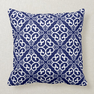 Navy Blue Vintage Chinese Square Floral Cushion