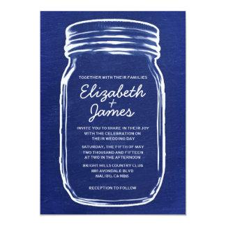 Navy Blue Vintage Mason Jar Wedding Invitations Personalized Invitations
