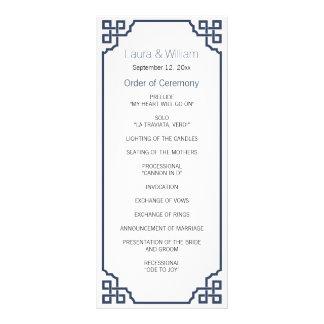 Navy Blue Vintage Wedding Program Rack Card