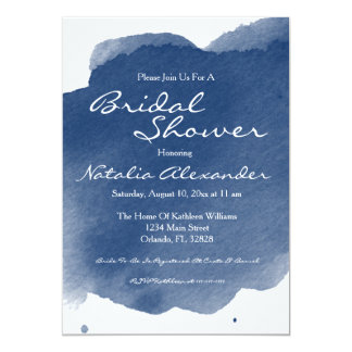 Navy Blue Watercolor Bridal Shower Invitation