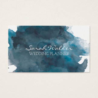 Navy Blue Watercolor Business Card