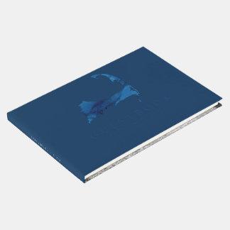 Navy Blue Watercolor Cape Cod Map Wedding Guest Book
