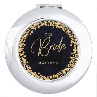 Navy Blue Watercolor & Gold Confetti Wedding Bride Travel Mirror