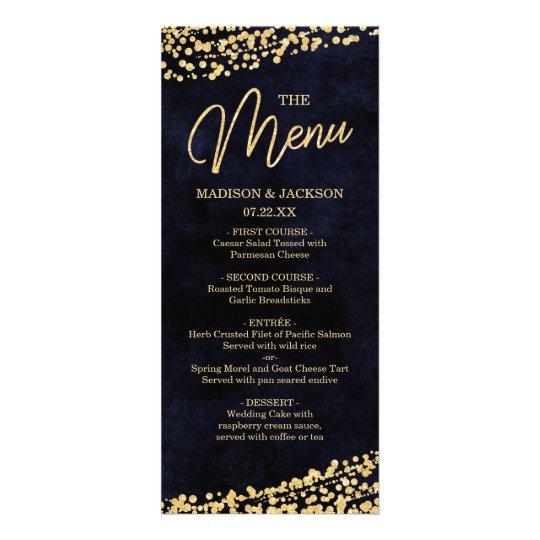 Navy Blue Watercolor & Gold Confetti Wedding Menu