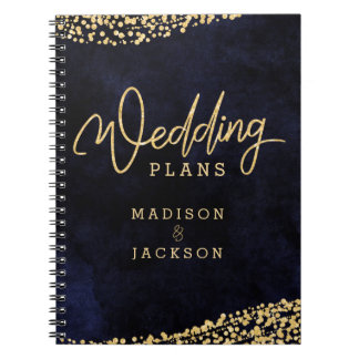 Navy Blue Watercolor Gold Confetti Wedding Planner Notebook