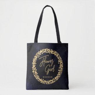 Navy Blue Watercolor & Gold Flower Girl Monogram Tote Bag
