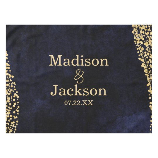 Navy Blue Watercolor & Gold Glam Wedding Monogram Tablecloth