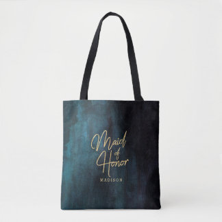 Navy Blue Watercolor & Gold Maid of Honor Monogram Tote Bag