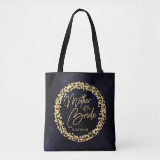 Navy Blue Watercolor & Gold Mother of the Bride Tote Bag